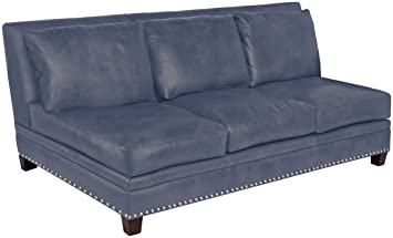 Amazon.com: Omnia Leather Glendora Armless 3 Cushion Sofa in ...