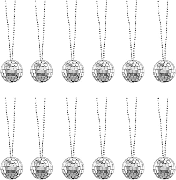 12 Pack 1 Assorted Color Mirror Disco Ball Necklace Party Favors