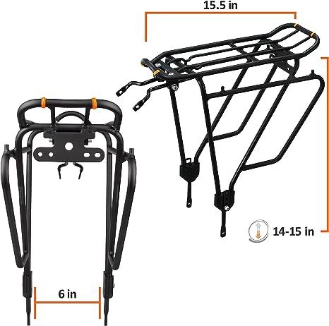 Ibera PakRak Bicycle Touring Carrier Plus+ IB-RA4 Portaequipajes para Bicicleta (Que no Tenga Frenos de Disco), Montaje al Cuadro para Carga Superior y Lateral: Amazon.es: Deportes y aire libre