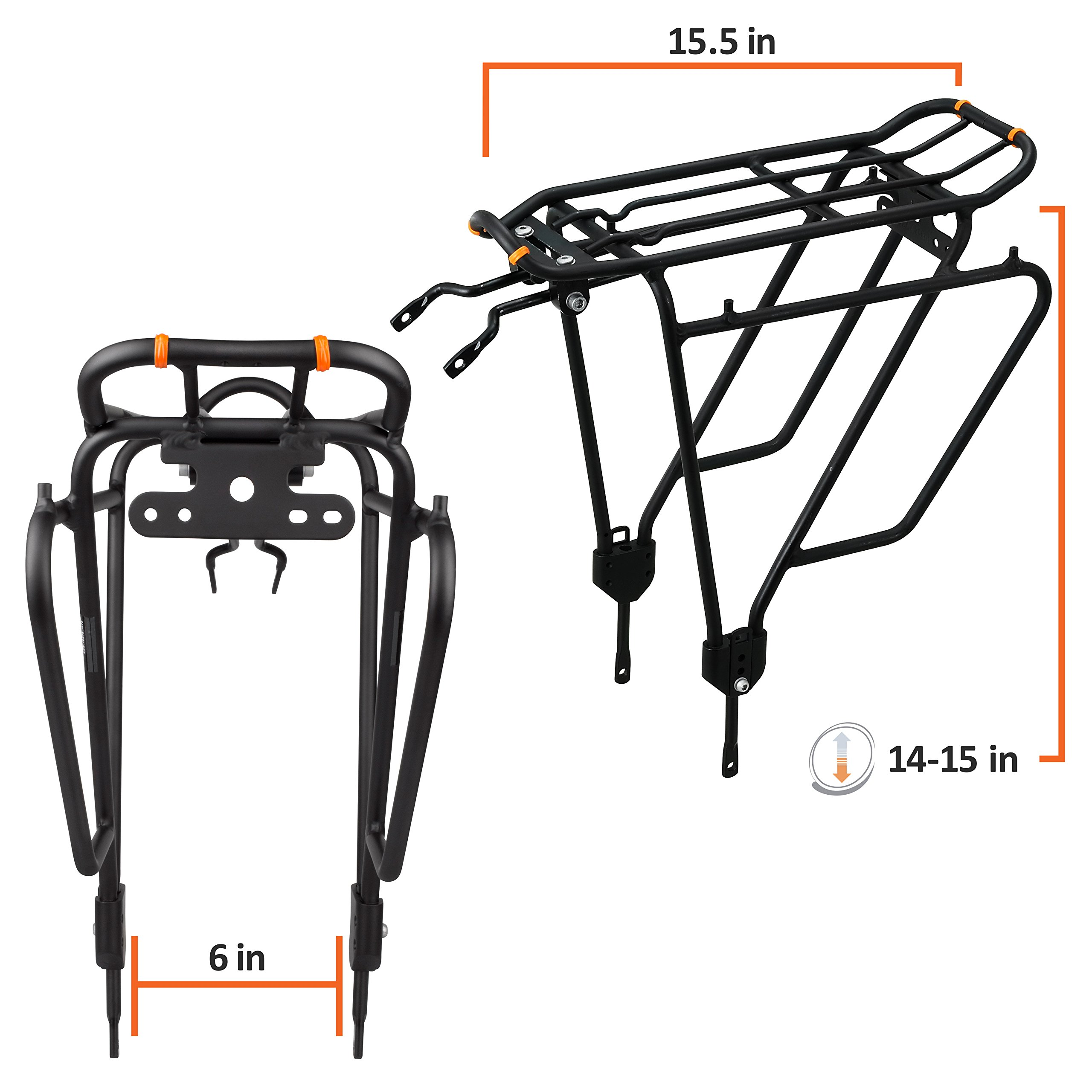 Ibera Bike Rack - Bicycle Touring Carrier Plus+ for Non-Disc Brake Mount, Frame-Mounted for Heavier Top & Side Loads, Height Adjustable for 26''-29'' Frames by Ibera (Image #3)