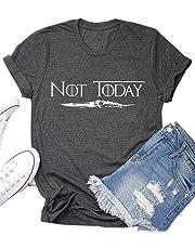 AEURPLT Not Today Game Thrones Shirt Women Teen Girls GOT TV Show Vintage T Shirt Merchandise Gifts Graphic Tops Tees