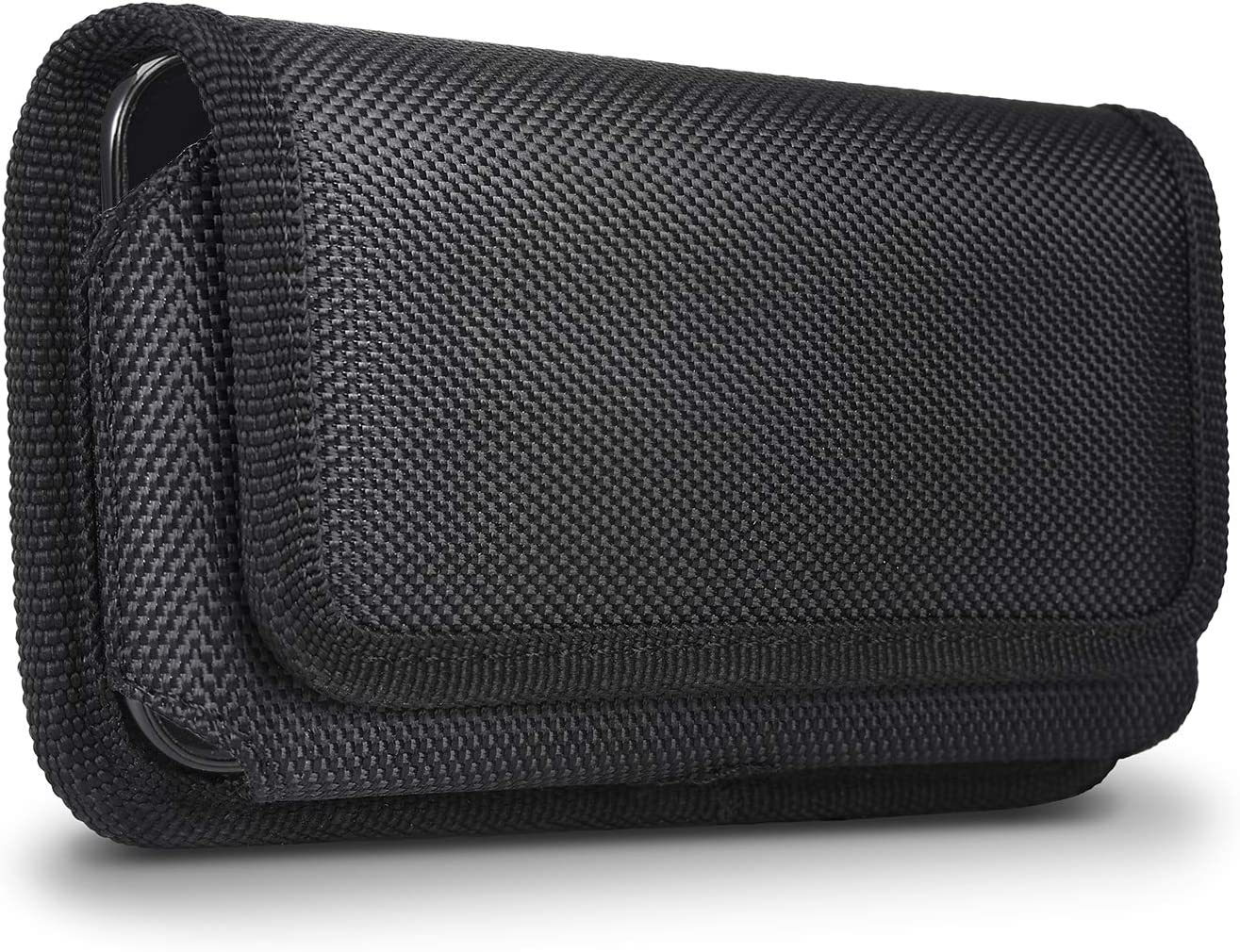 for iPhone X Belt Case, miadore Horizontal Belt Clip Holster [Magnetic Flap] Black Nylon Phone Holder Cover [Elastic Side] with Belt Loops for iPhone X (for Thin Case)