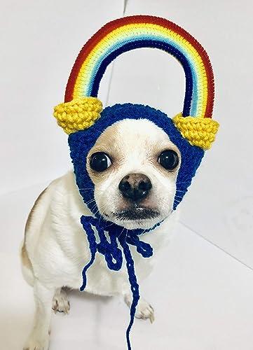 Rainbow Crochet Dog Hat Handmade Amazoncom