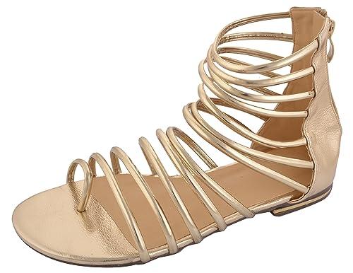 c51d65fd5ec LIFAJ Women's Golden Gladiator Sandals (11 UK): Buy Online at Low ...