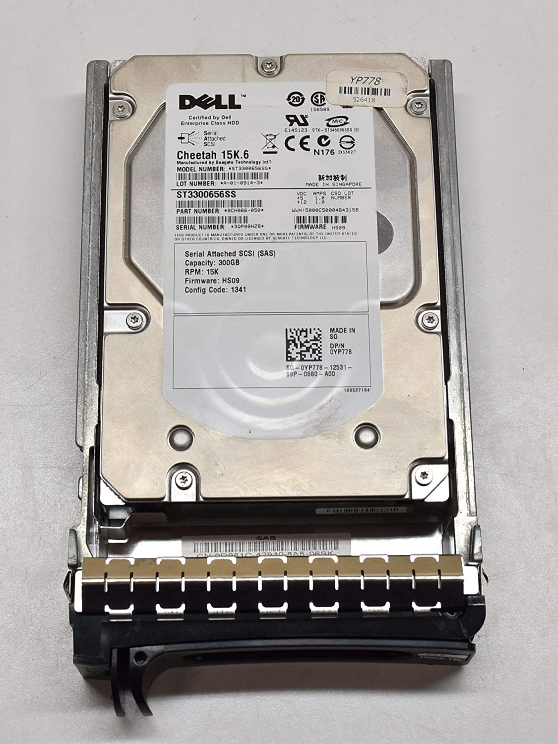 "YP778 - DELL ENTERPRISE CLASS 300GB 15K SAS 3.5"" 3Gbps 16MB CACHE HARD DRIVE W/TRAY F9541 COMPATIBLE WITH PowerEdge R900 R905 1900 1950 2900 2950 2970 MD1000 MD3000 MD3000i"