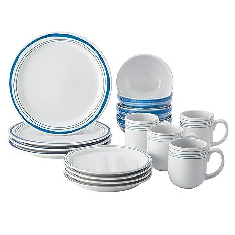 Amazon.com | Rachael Ray Brushstrokes Stoneware Dinnerware Set, 16 ...