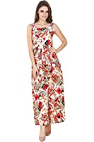 Binny Creation for Women's Red Crepe Tunic (Maxi gown )
