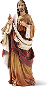 """Joseph's Studio by Roman, Sacred Heart of Jesus Figure, 6"""" Scale Renaissance Collection, 6.25"""" H, Resin and Stone, Religious Gift, Decoration"""