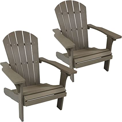 Superbe Sunnydaze All Weather Adirondack Chair Set Of 2, Faux Wood Design, Gray