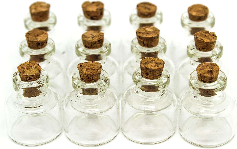 RUBY - 24 Botellas de deseo 22mm x 25mm, mini botellas de cristal con tapones de corcho, mensaje, deseo de fiesta de bodas. (24 unids.)
