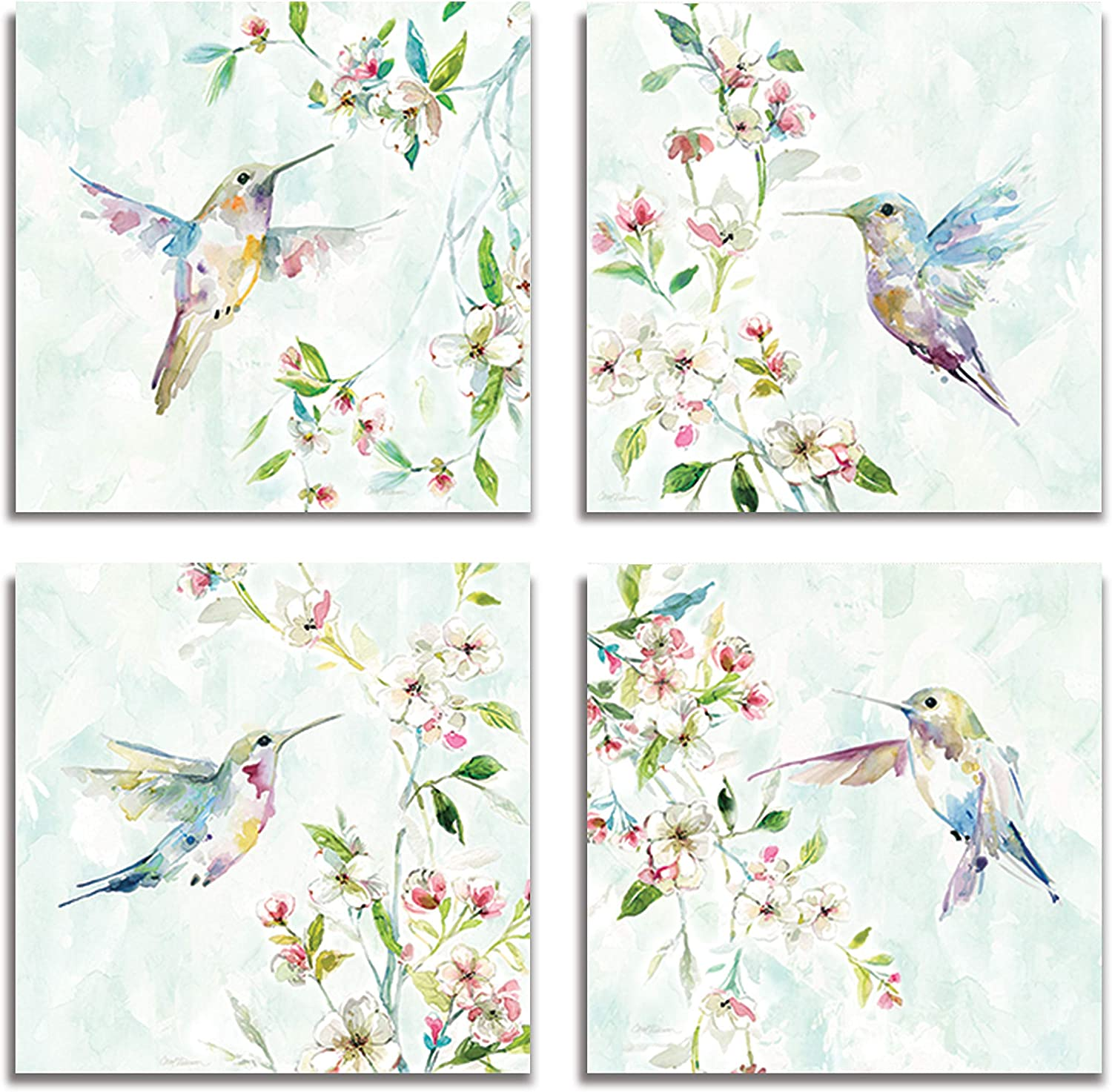 WEXFORD HOME Flower Spring Collection Canvas Print 4 Panels Set Décor for Home Office Wall Art, 12X12, Hummingbird/Frameless