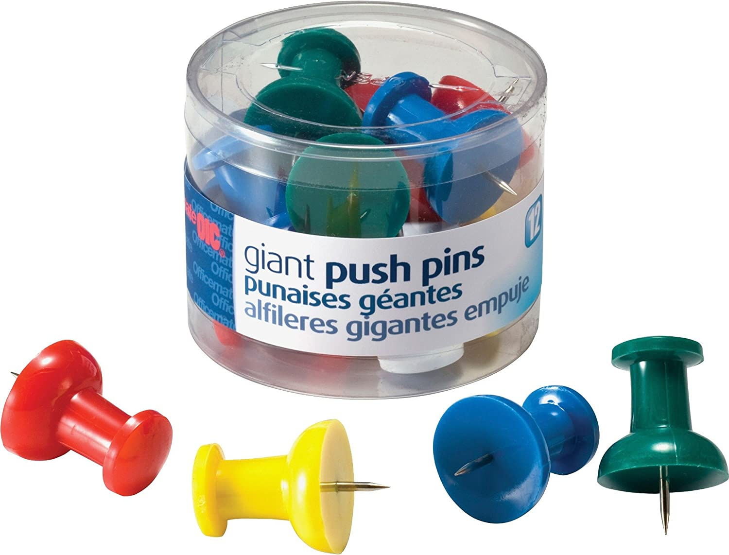 School Smart Giant Push Pin with Reclosable Tub Assorted Color Pack of 12-081907