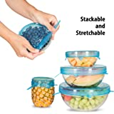 Silicone Stretch Lids, 7 Pack Exclusive, Insta Lids, Food Covers, Bowl Covers, Reusable lids, Stretchable To Fit Many Sizes