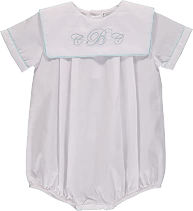 Carriage Boutique Boys Blue Christening Baptism Bubble Outfit Smocked Crosses