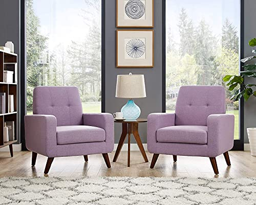Funkeen Accent Chair, Modern Arm Chair Upholstered Fabric Sofa Set of 2 Comfy Chair Living Room Furniture Purple