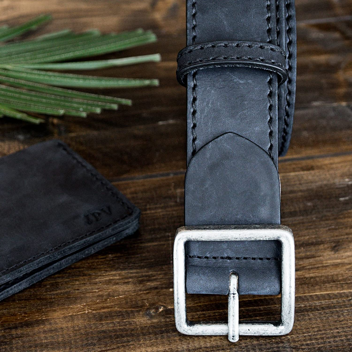 Pegai Personalized Distressed Leather Belt for Men, Rustic Minimalist Leather Belt, Monogrammed Unique Belt - Logan Charcoal Black