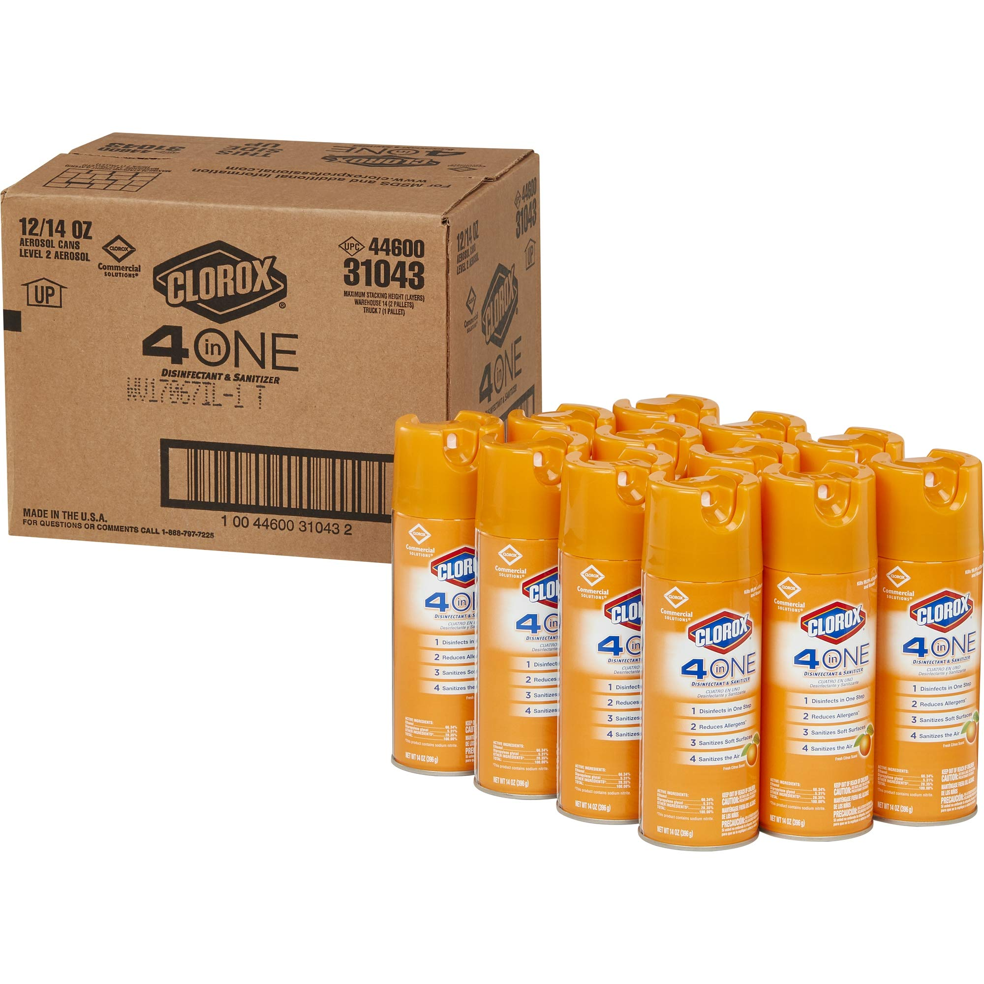Clorox Commercial Solutions 4 in One Disinfecting Cleaner - 14 Ounce Spray Can, 12 Cans/Case (31043)