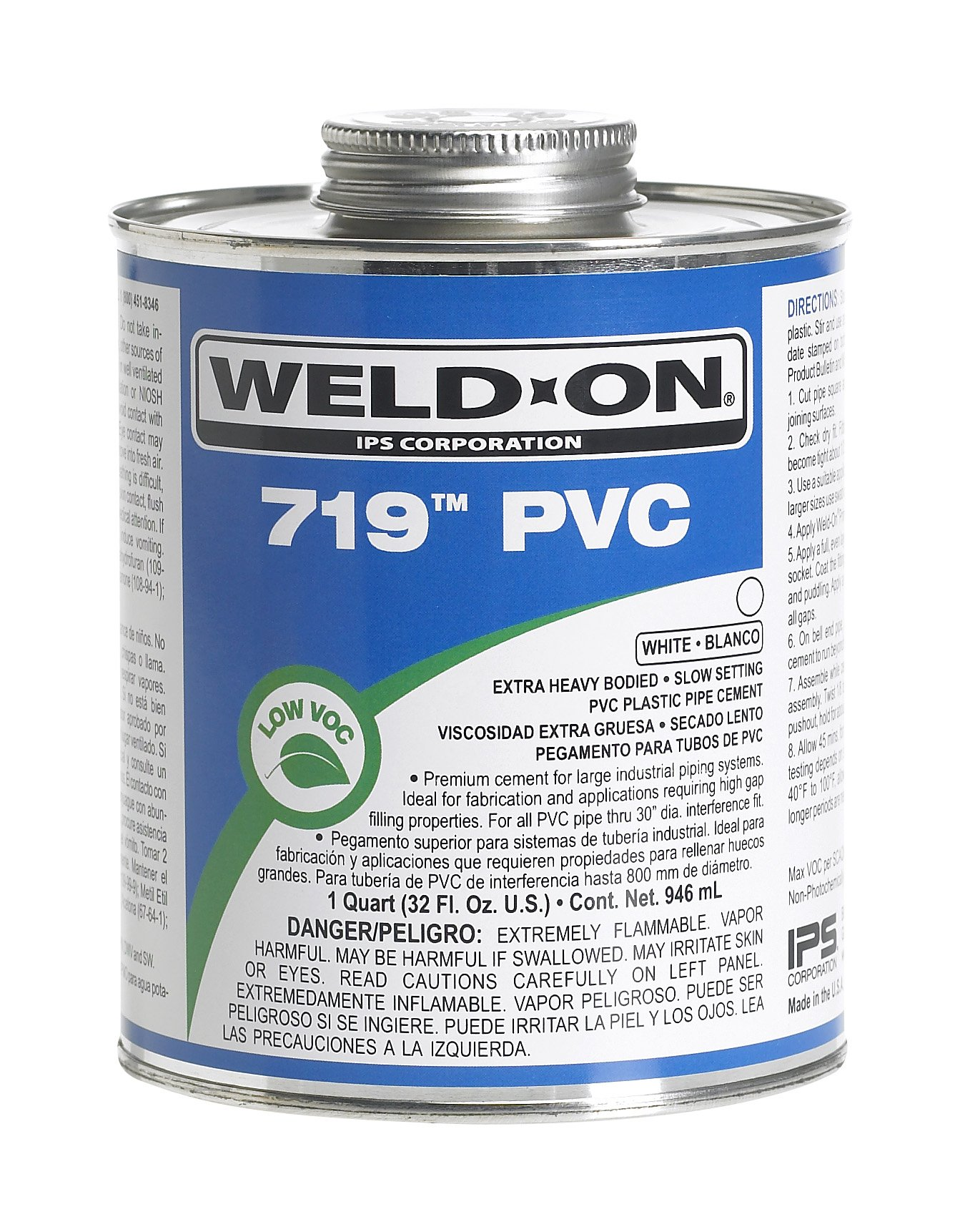 Weld-On 10159 White 719 Extra Heavy-Bodied PVC Professional Industrial-Grade Cement, Slow-Setting, Low-VOC, 1 pint Triple Tight Paint Can