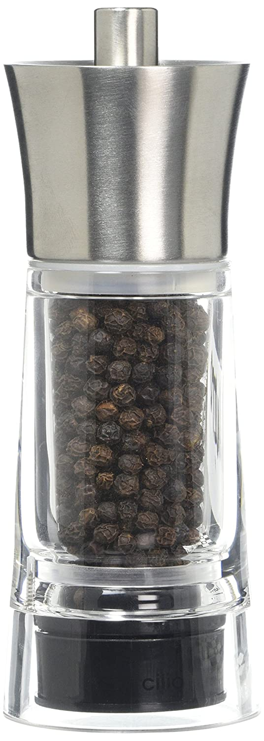Cilio TopGourmet Genova Pepper Mill Acylic Clear Stainless Steel 14 cm 600261 Salt_Pepper_Mills Tools_Gadgets_Barware peppermill