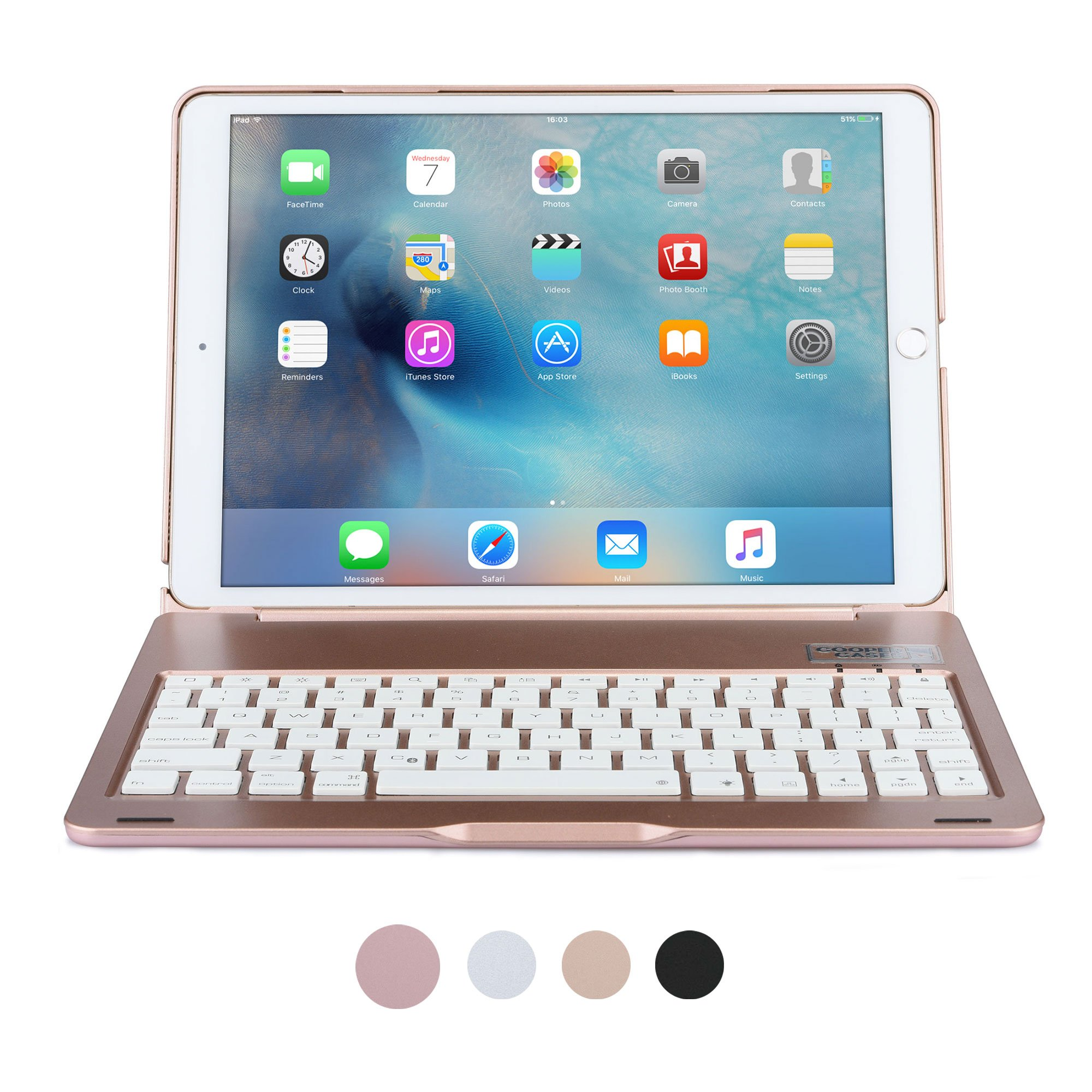 iPad Pro 10.5 Keyboard case, COOPER NOTEKEE F8S Backlit LED Bluetooth Wireless Rechargeable Keyboard Portable Laptop Macbook Clamshell Clamcase Cover with 7 Backlight Colors (Rose Gold)