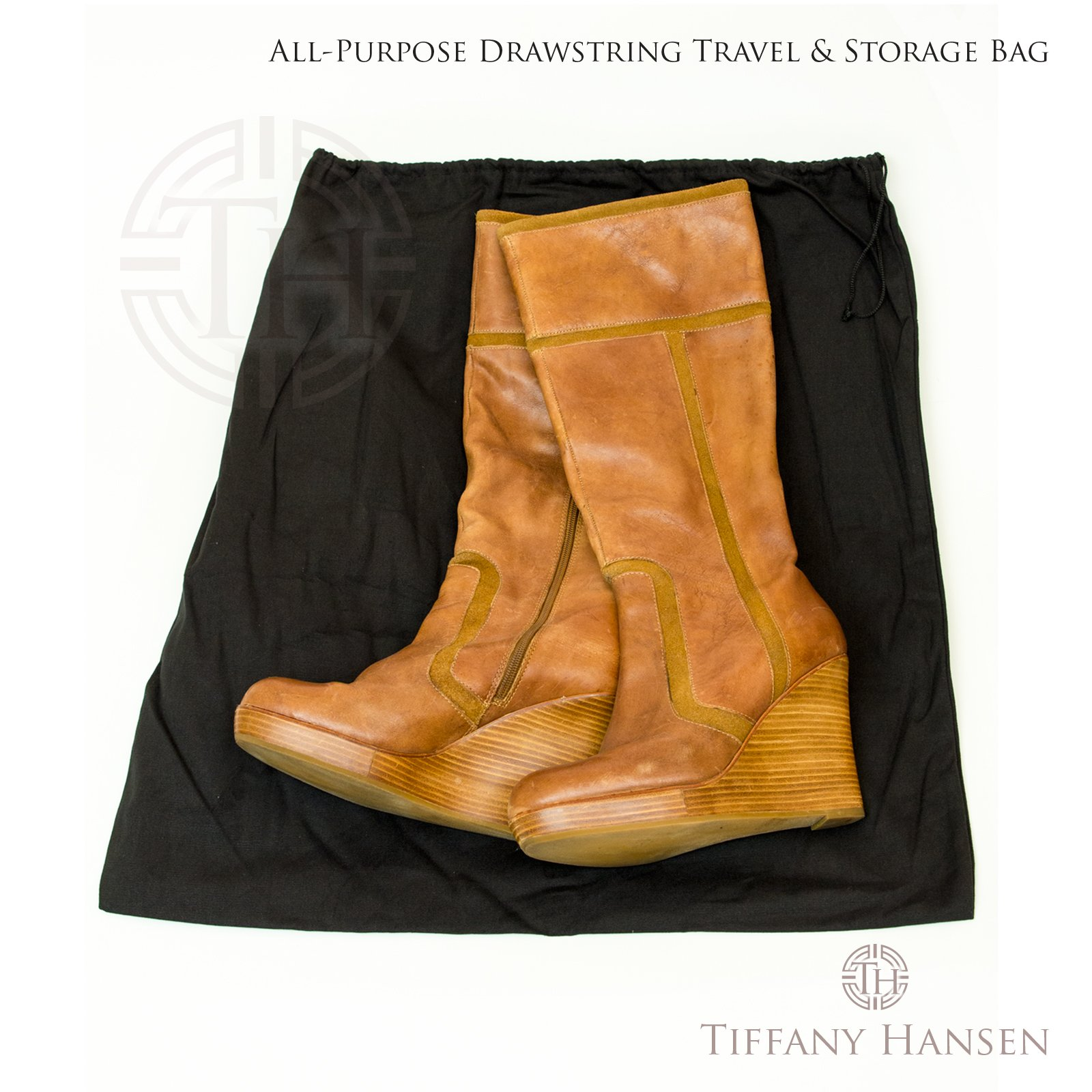 Tiffany Hansen's Cotton Large Drawstring Shoe & Purse Travel Storage Bag (12) by Tiffany Hansen Designs (Image #2)