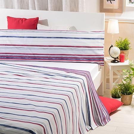 Sancarlos - Juego de sábanas DARIA, 100% Algodón, Color Azul y Rojo, Cama de 90 cm: Amazon.es: Hogar