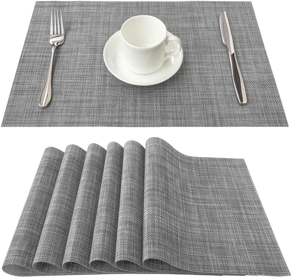 Familamb Placemats for Dining Table Set of 6 , Woven Vinyl Placemats Heat-Resistant Table Mat Washable Easy- Clean Stain Resistant Dinner Placemat Grey