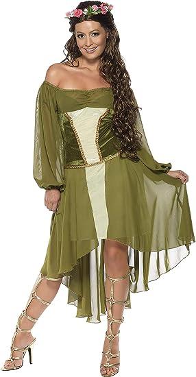 Smiffys Disfraz de Bella Doncella, Verde, con Vestido y Corona de ...