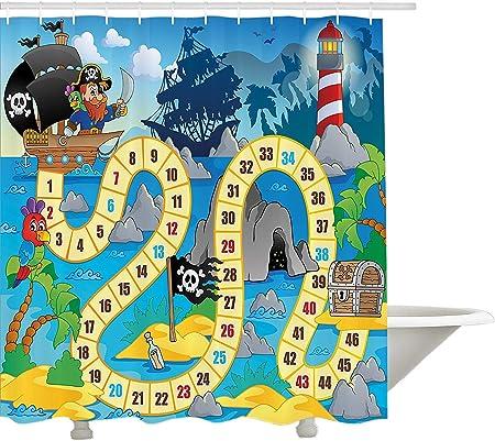 Juego de Mesa de yeuss Cortina de Ducha, Barco Fantasma con Piratas Faro Isla Tropical Waters bucanero Ocean Palms, Tela Decoracion del Cuarto de baño Set con Ganchos: Amazon.es: Hogar