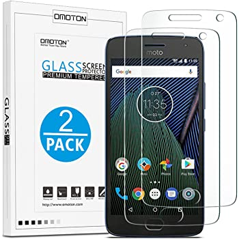 OMOTON 9H Hardness HD Tempered Glass Screen Protector for Moto G5 Plus, 5.2 Inches, 2 Pack