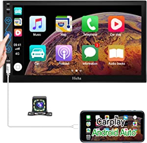 Double Din Car Stereo Compatible with Android Auto and Apple Carplay, 7 Inches HD Touchscreen Car Radio with Bluetooth and Backup Camera, AM/FM, Mirror Link/AUX Input/SWC, Built-in Microphone