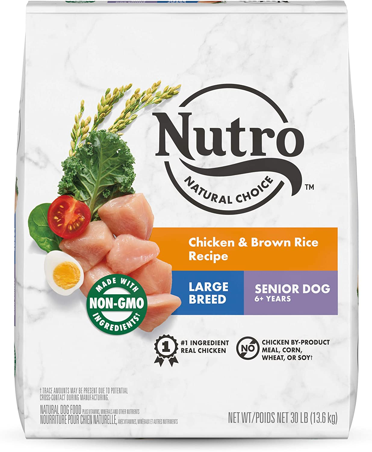 NUTRO NATURAL CHOICE Large Breed Senior Dry Dog Food, Chicken & Brown Rice Recipe Dog Kibble, 30 lb. Bag