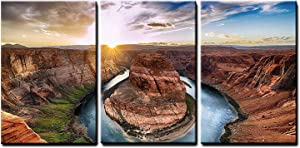 """wall26 - 3 Piece Canvas Wall Art - Sunset Moment at Horseshoe Bend, Colorado River, Grand Canyon National Park, Arizona USA - Modern Home Art Stretched and Framed Ready to Hang - 16""""x24""""x3 Panels"""