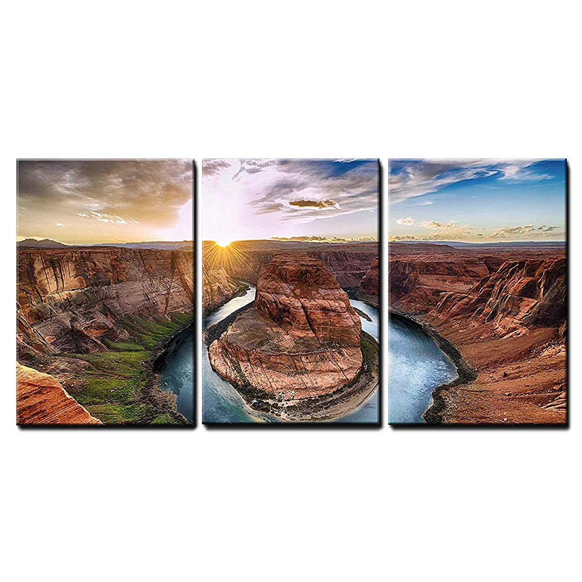 """wall26 - 3 Piece Canvas Wall Art - Sunset Moment at Horseshoe Bend, Colorado River, Grand Canyon National Park, Arizona USA - Modern Home Decor Stretched and Framed Ready to Hang - 16""""x24""""x3 Panels"""