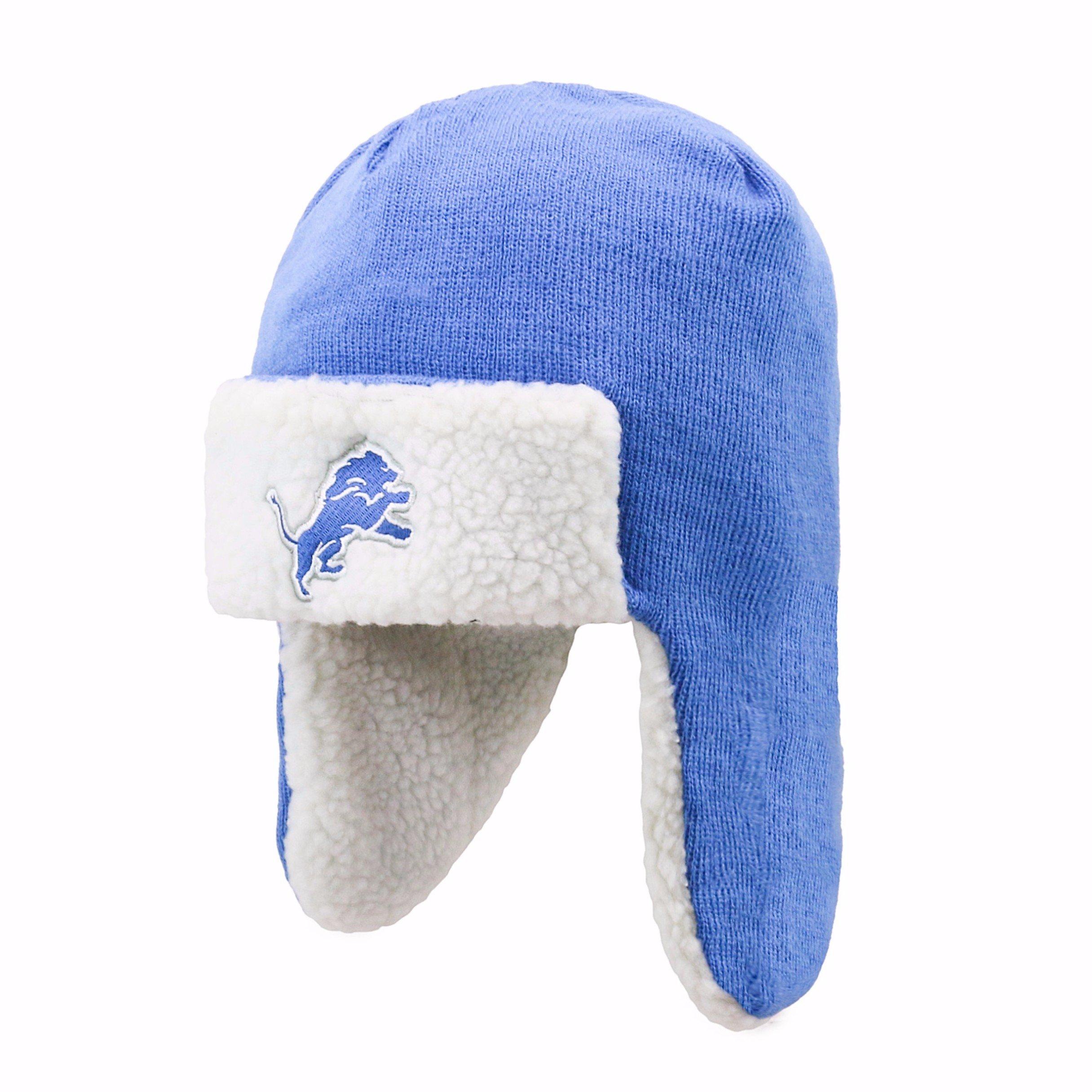 NFL Detroit Lions Breck OTS Sherpa Hunter Knit Cap, Blue Raz, One Size