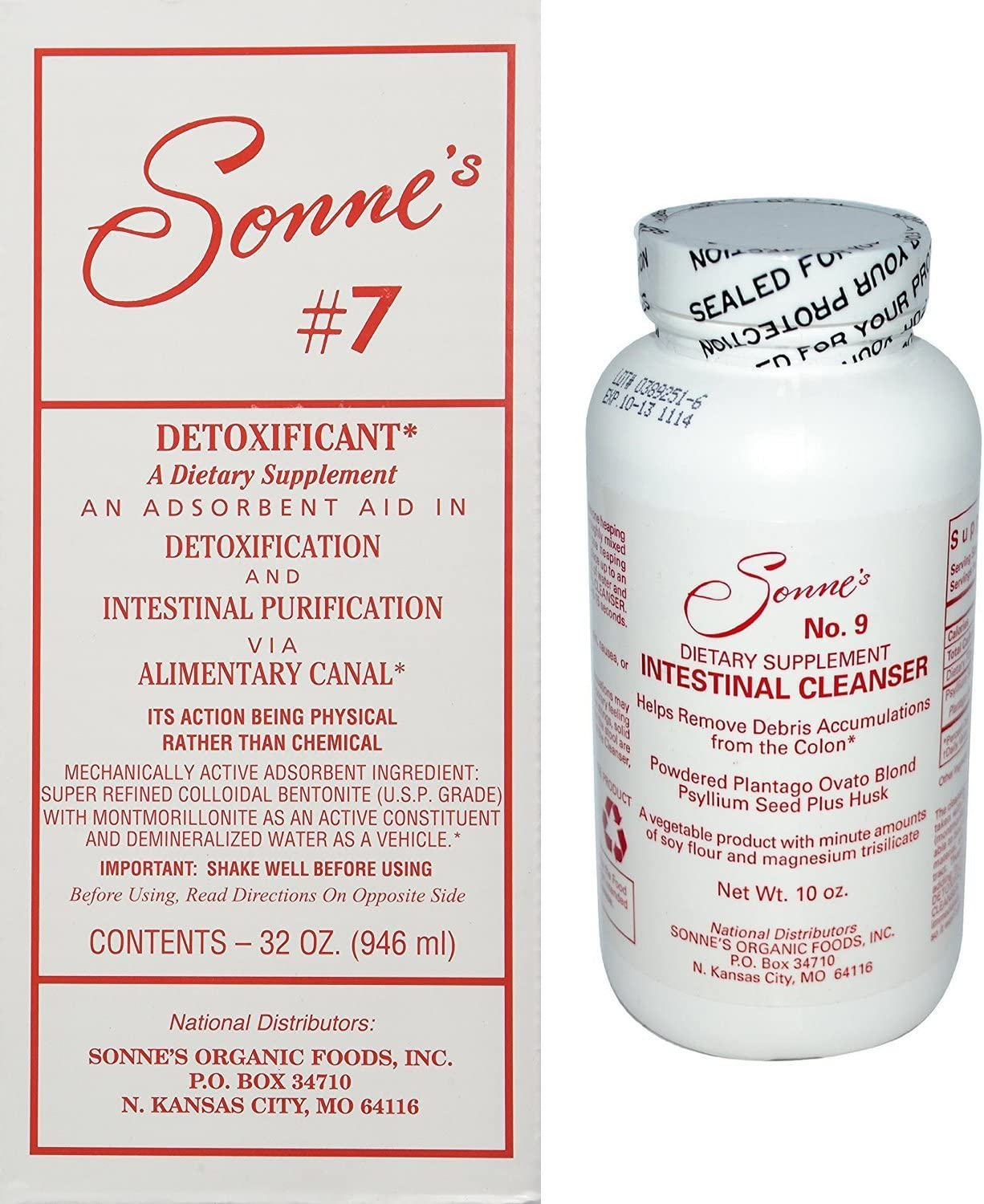 Sonne s Detoxification Pack Containing Detoxification No 7, 32 oz Bundled with Intestinal Cleanser No 9, 10 oz