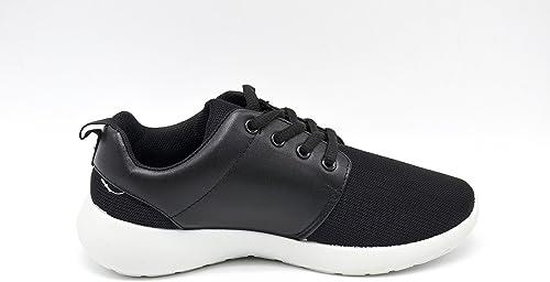 shy15 * Zapatillas Running Sneakers Uni Tela y Piel sintética con Suela Blanca – Mode Mujer: Amazon.es: Zapatos y complementos