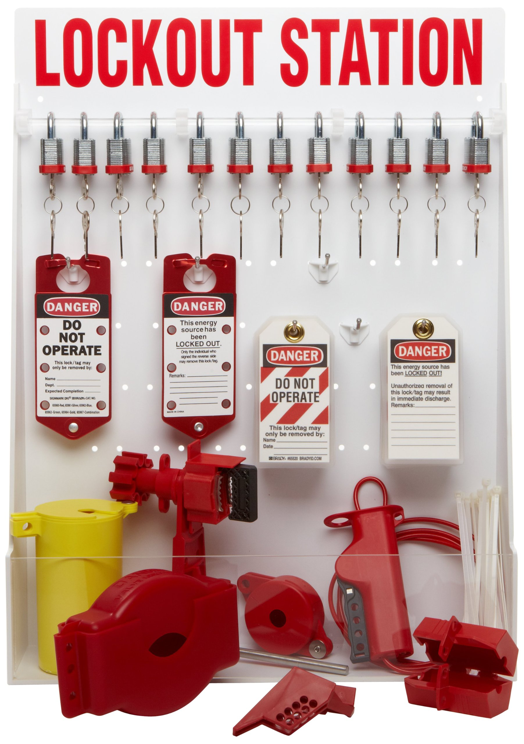 Brady Lockout Station with Padlocks, Tags, and Devices, Open Station, Includes 12 Steel Padlocks