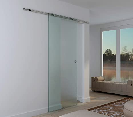 Puerta corredera de vidrio templado esmerilado Rail de aleación de ...