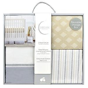 Just Born Dream 3 Piece Crib Set, Beige, Grey, One Size