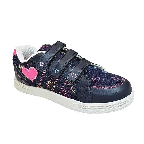 Niña Zapatillas De Lona Vaquero Velcro Corazones Rosas Zapatillas Deportivas - Azul, EU 30.5: Amazon.es: Zapatos y complementos