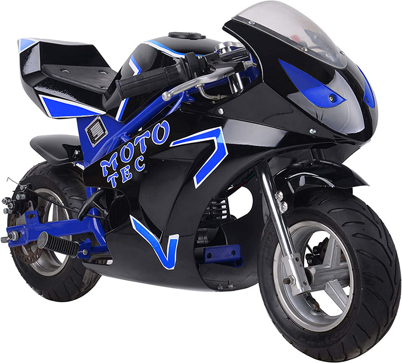 MotoTec Gas Pocket Bike GT 49cc 2-Stroke Engine Multiple Colors Available