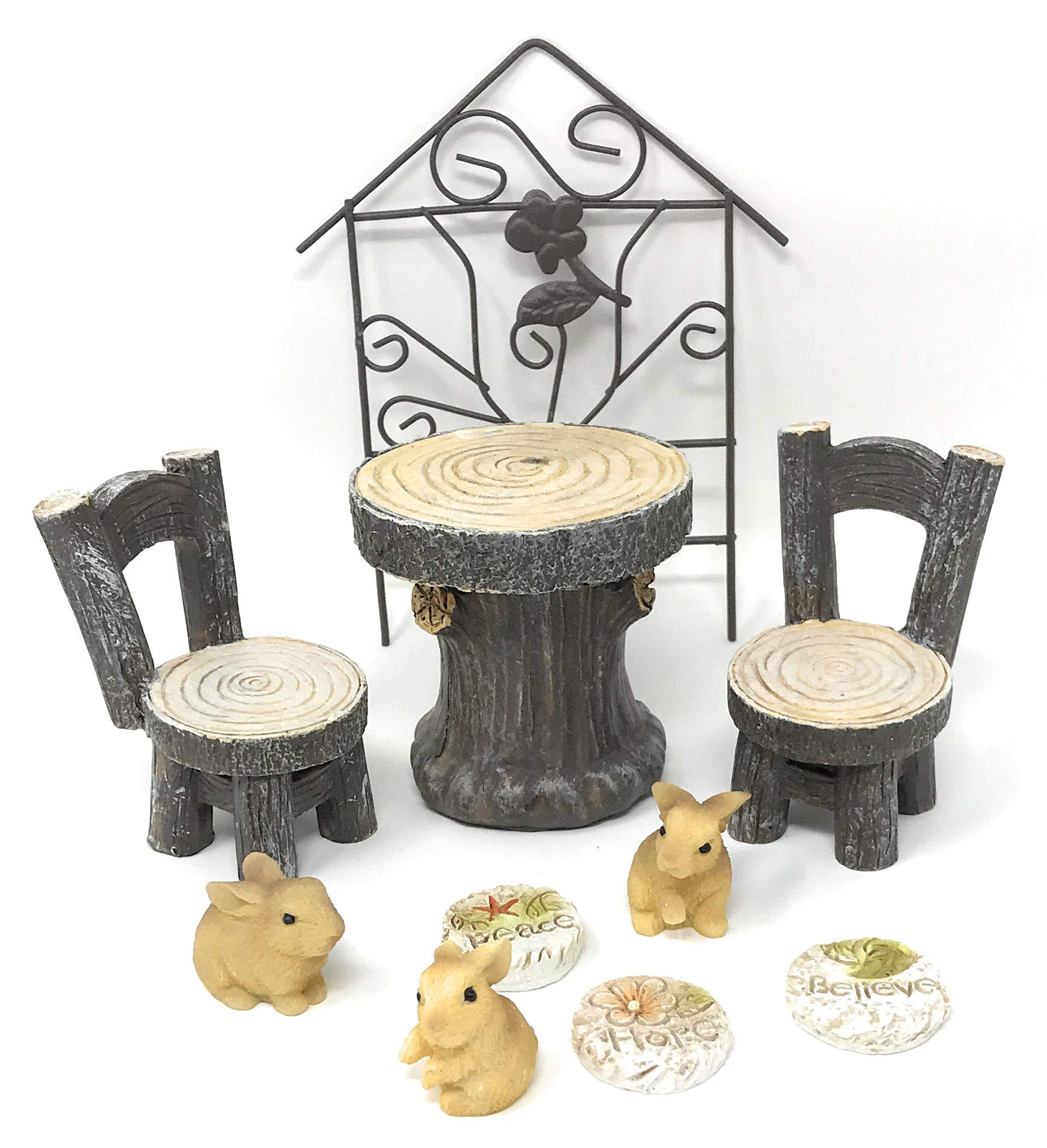 Myoan Brand Miniature Fairy Garden Accessories Bundle with 1 Table, 2 Chairs, 3 Rabbits, 3 Stepping Stones and 1 Trellis (10 Items)