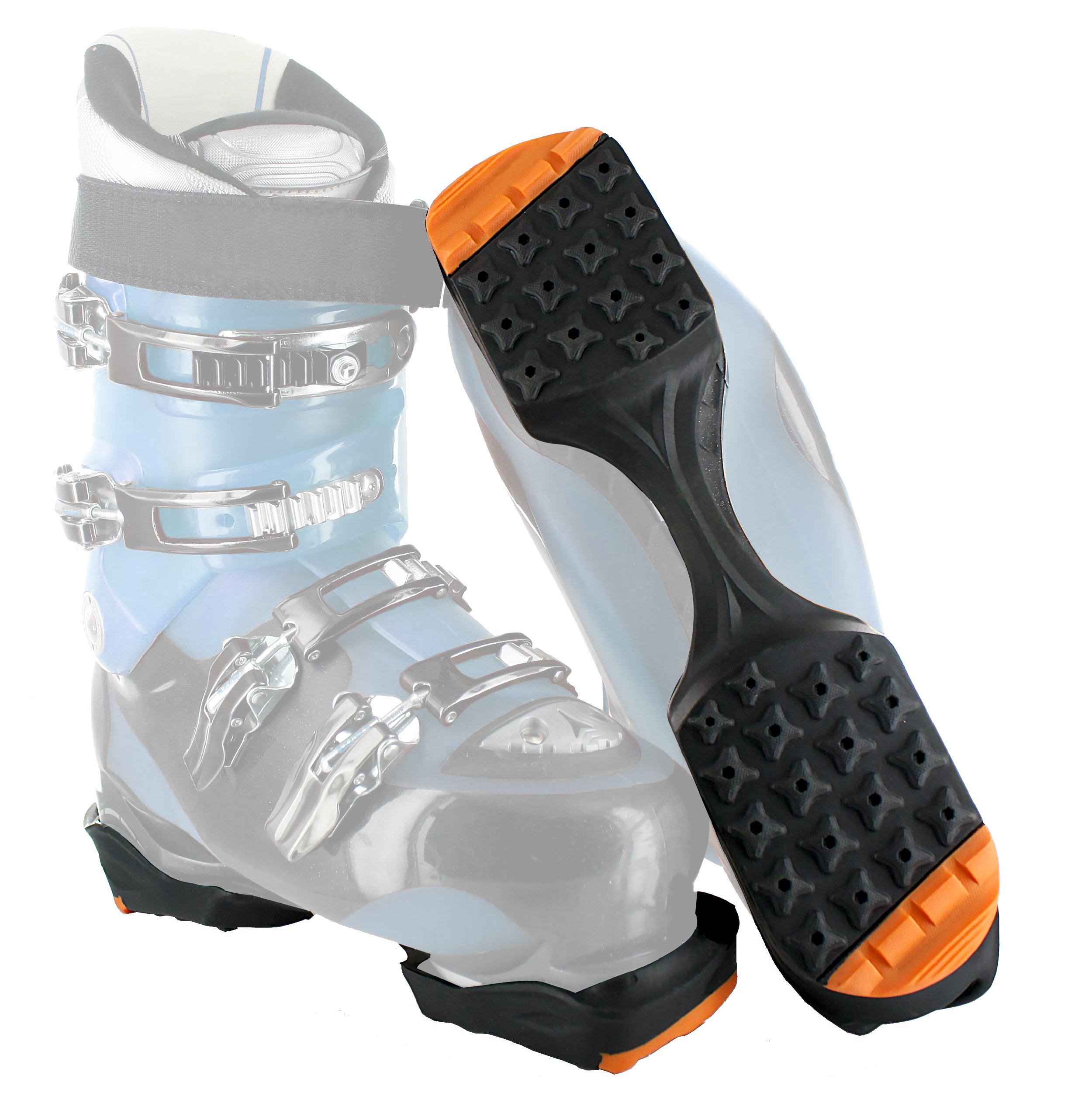 YakTrax SkiTrax Ski Boot Tracks Traction and Protection Cleats (Pair), Black/Orange, Large by YakTrax