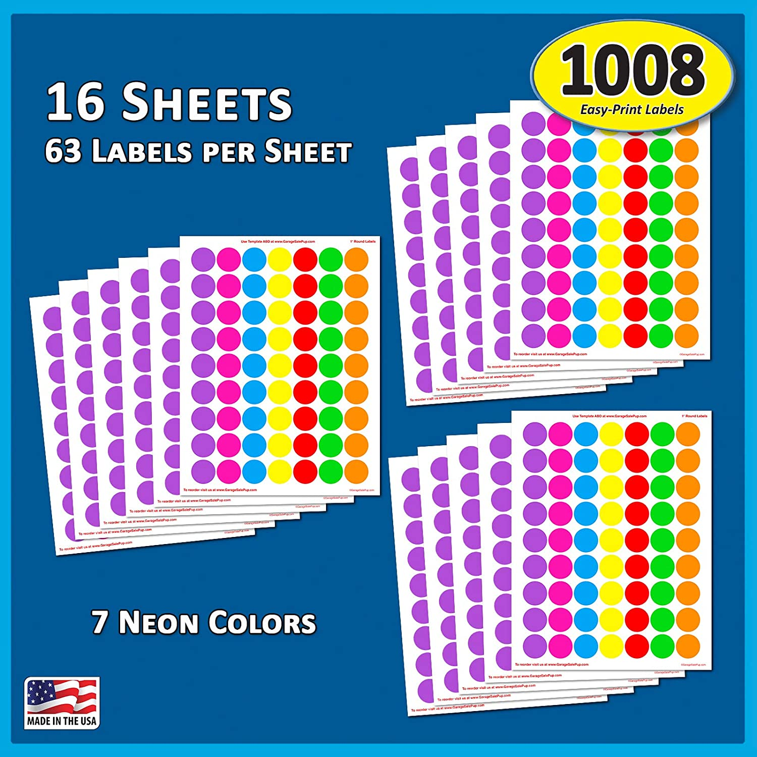 """Pack of 1008 1-inch Diameter Round Color Coding Dot Labels, 7 Bright Neon Colors, 8 1/2"""" x 11"""" Sheet, Fits All Laser/Inkjet Printers, 63 Labels per Sheet, 1"""" : Office Products"""