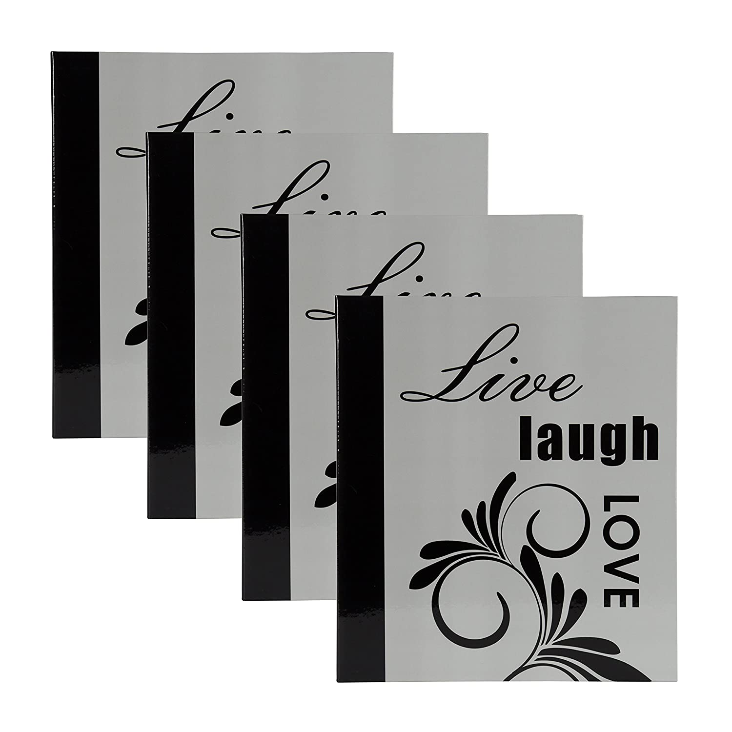 DesignOvation Live Laugh Love Expression Photo Album, Holds 440 4x6 Photos, Set of 4 Uniek 211284
