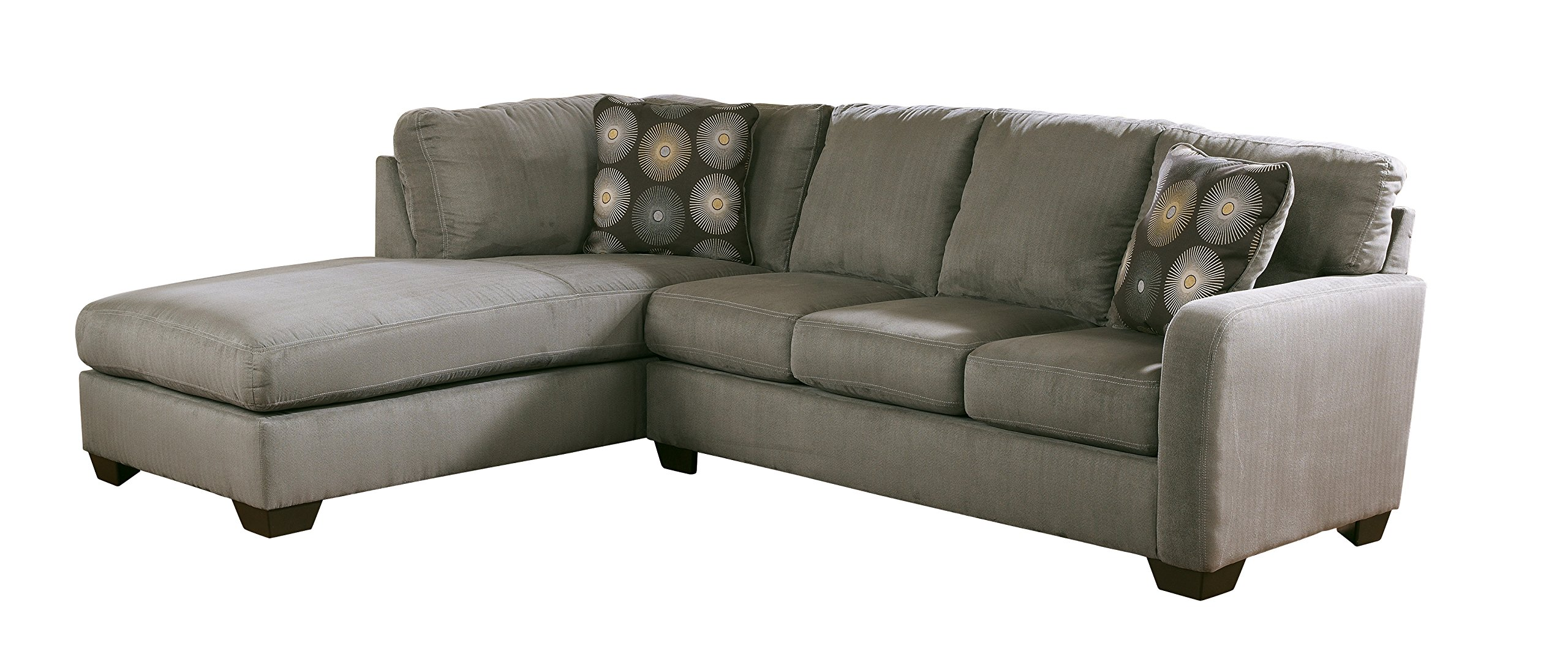 Ashley Furniture Signature Design - Zella 2-Piece Sectional - Right Arm Facing Sofa & Left Arm Facing Corner Chaise - Charcoal by Signature Design by Ashley