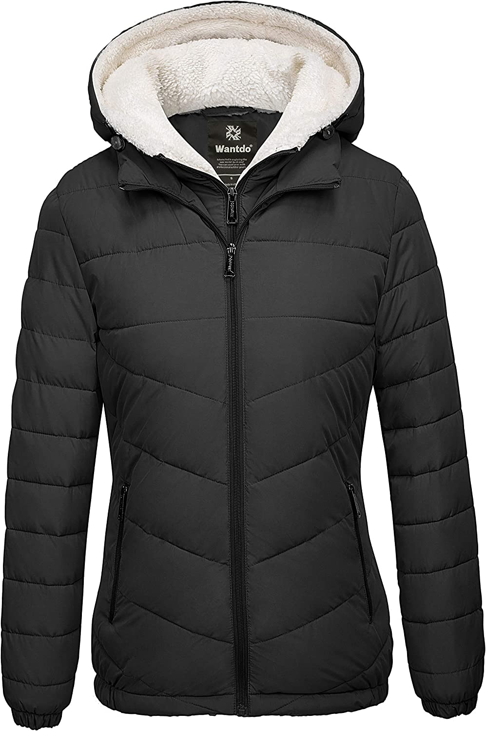 Wantdo Women's Quilted Winter Coats Hooded Warm Puffer Jacket with Fleece Hood: Clothing