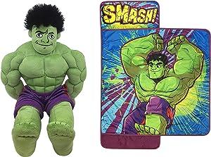 Jay Franco Marvel Toddler Hulk 2-Piece Pillow Buddy Bundle-Includes Pillow Buddy, Nap Mat