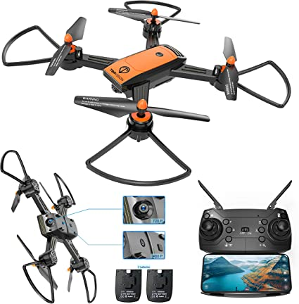 Drone with Camera, TOPVISION WiFi FPV 720P HD Camera & 480P Bottom Camera Wide-Angle Live Video RC Quadcopter with Altitude Hold One Key Take ...